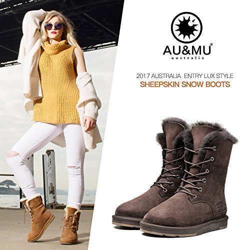 AU Boot Flat Winter Calf Mid Lace Aumu up Womens Snow Chocolate Fur Classic Boot amp;MU CPwCqrSx