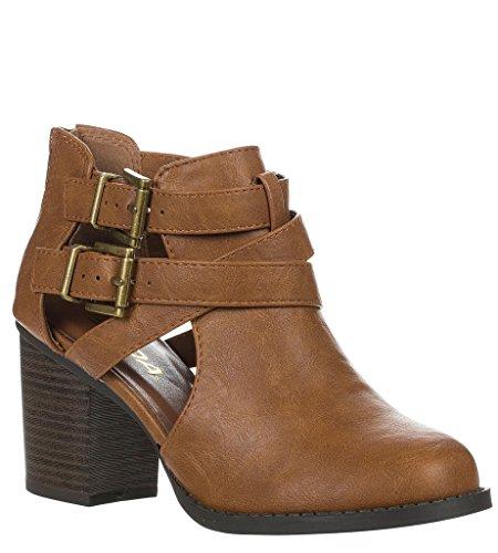 Forever Frauen Schnalle Block Block Heel Ankle Booties Tan-Pu