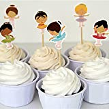 24pcs Ballerina Cupcake Toppers Picks Baby Shower Kids Birthday Party Supplies