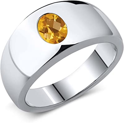 1.25 Ct Oval Checkerboard Yellow VS Citrine 925 Sterling Silver Men/'s Ring