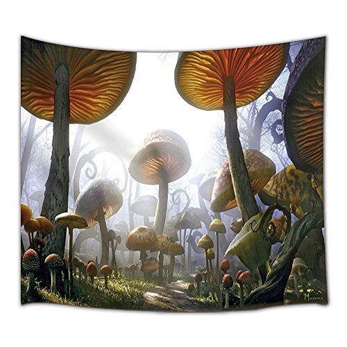 KOTOM Fantasy Decor Tapestry, Fairytale Forest Scenery with Mushrooms, Wall Art Hanging for Living Room Bedroom Dorm Decor 71X60Inches Wall Blankets