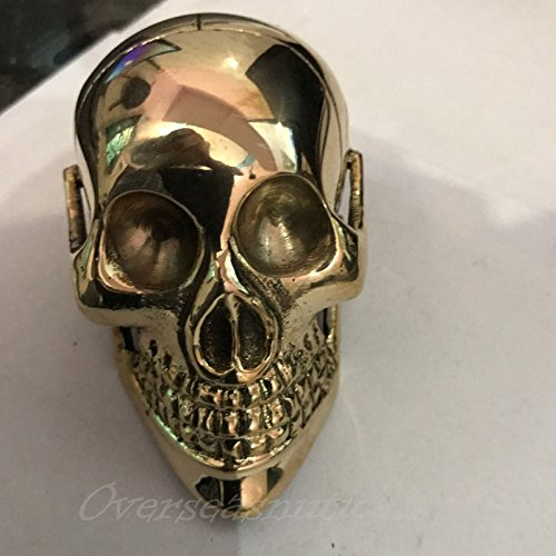 Designer Solid Brass Skull Head Handle For Walking Stick Canes Shaft by Replica Warehouse