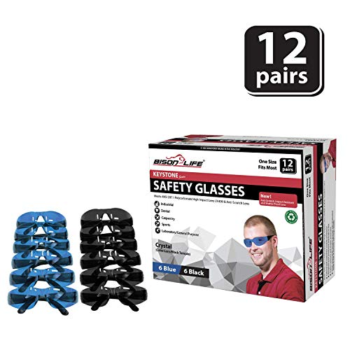 BISON LIFE Keystone Series Safety Glasses | One Size, Color Protective Polycarbonate Lens - Black Temple, 6 Blue and 6 Black (12 pairs in 1 box)
