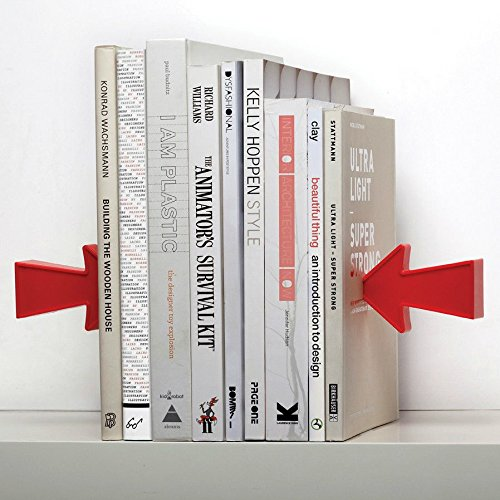 Magnetic Bookends Arrow Peleg by Design Studio. Red Book End is a Great Present for Kins and Adults. Designer Book Stoppers (Halloween Stores New York)