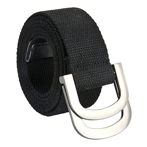 Faleto Canvas Web Belt Double D-ring Buckle Military Style Plain Belts for Men Black 51''