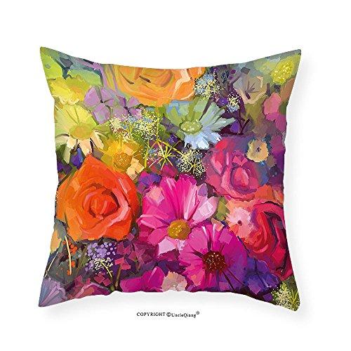 VROSELV Custom Cotton Linen Pillowcase Floral Vibrant Flower Bouquet with Daisy Peony Gerbera Petals Romantic Arrangement Print for Bedroom Living Room Dorm Multicolor 20