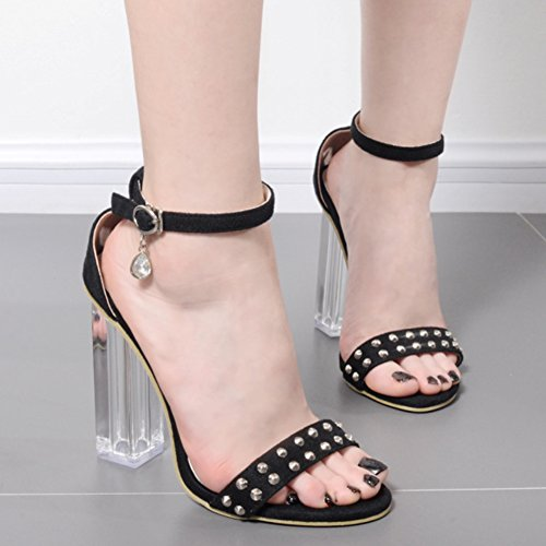 Easemax Womens Sexy Faux Suede Rivets Ankle Buckle Strap Open Toe High Chunky Transparent Heel Sandals Black fhJ8Npu