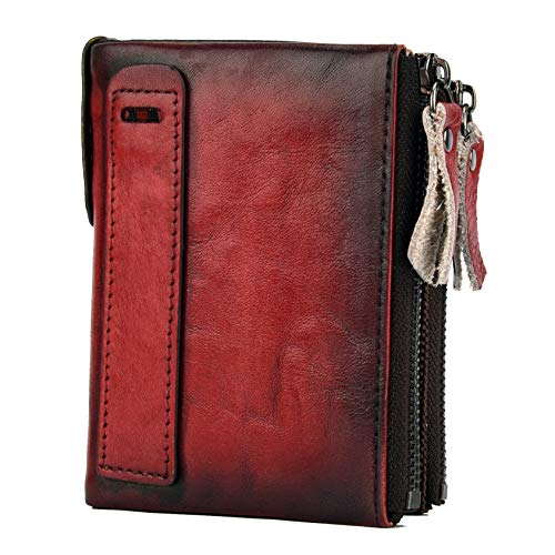 Men RFID Blocking Wallet Small Vintage Crazy Horse Leather Short Purse Bifold (4.8
