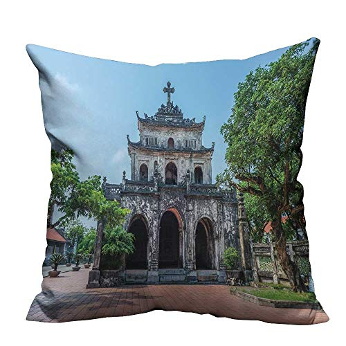 YouXianHome Throw Pillow Cover for Sofa Ninh Binh Vietnam nov The phat Diem Cathedral Textile Crafts (Double-Sided Printing) 17.5x17.5 inch -