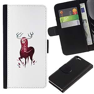 Protector de cuero de la PU de la cubierta del estilo de la carpeta del tirón BY RAYDREAMMM - Apple Iphone 6 - Cuernos Elk ciervos