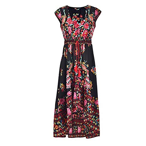 Autumn Water New Women Summer Boho Beach Maxi Dress Sexy V Neck Vintage Print Long Dresses