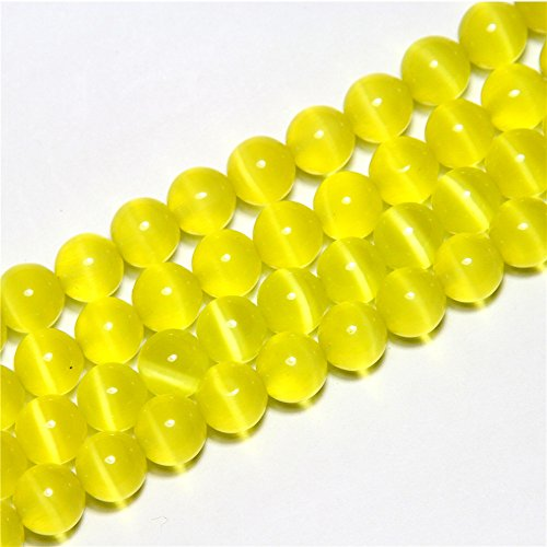 SHG Store 6mm Round Yellow Cat Eye Beads Strand 15 Inch Jewelry Handmade DIY Beads