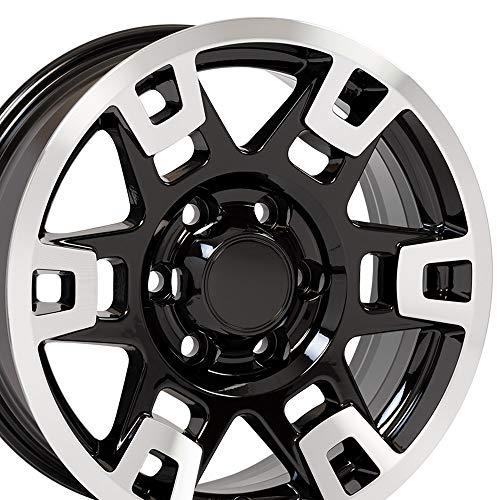 OE Wheels 17 Inch Fits Toyota Tacoma Sequoia FJ Cruiser Tundra 4Runner Lexus GX HL450 TRD H Spoke Style TY16 Gloss Black Machined 17x7 Rim Hollander 75167 (Best Black Rims For Fj Cruiser)