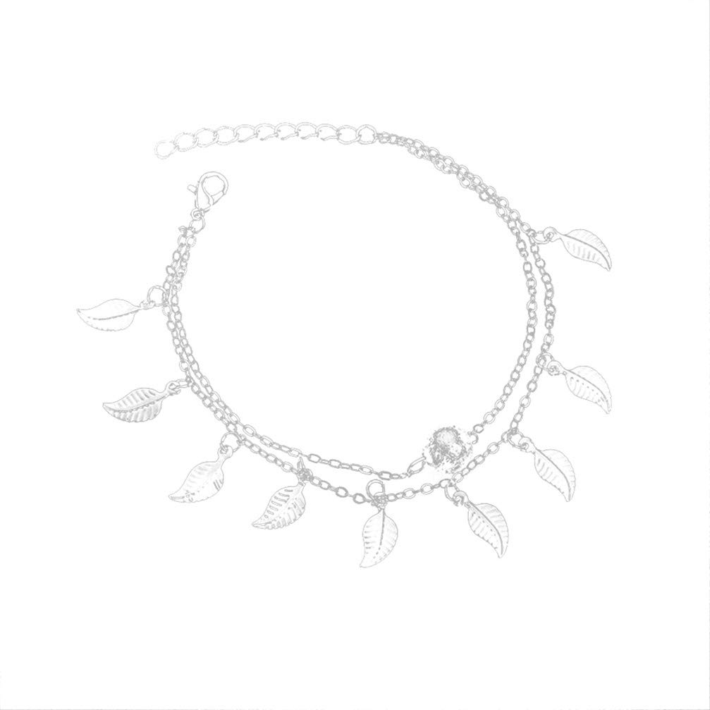 Myhouse Beads Leaves Tassels Double-Layered Foot Chain Sandal Beach Barefoot Anklet for Women Girls, Silver Color