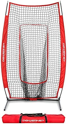 PowerNet Infielder Training Baseball Softball Net 4ft x 7ft Throwing Fielding Training Target Simulate Fielding Situations Throws to First, Cutoff, Second Portable, Easy Setup Team Colors
