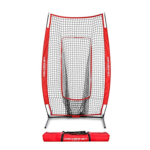 (PowerNet Infielder Training Baseball Softball Net 4x7 (Red) | Throwing Fielding Training Target | Simulate Fielding Situations | Throws to First, Cutoff, Second | Portable, Easy Setup | Team)