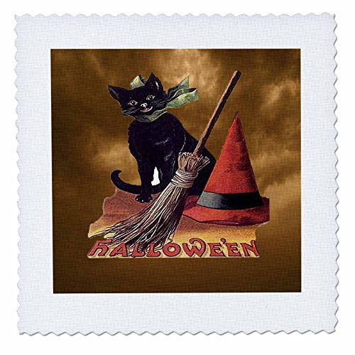 3dRose qs_6190_1 Vintage Halloween Black Cat-Quilt Square, 10 by 10-Inch