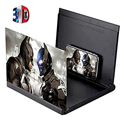 Screen Magnifier for Mobile Phone, 12'' 3D Cell Phone Magnifier Projector Screen Enlarger HD for Videos, Movies, and Games, Foldable Phone Stand with Screen Amplifier, Compatible with Any Smartphones