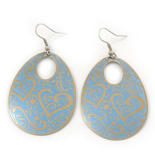 Boucles d'oreille ovale découpe florale or//bleu clair longueur 6,5cm