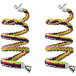 Lee-buty 2pcs 63in Bird Perch Rope Bungee Bird Toy Pure Natural Parrot Toy Cage Parrot Chewing Toy
