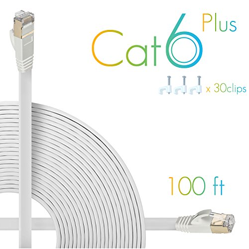 AOFORZ - Ethernet Cable Cat6 Plus 100ft - White Flat High Speed Internet Network Cable with Cable Clips - Computer Cable with Snagless Rj45 Connectors - 100 feet White (30 Meters)