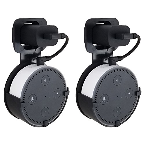 Price comparison product image The Dot Spot by Dot Genie: The Original Outlet Wall Mount Hanger for Amazon Echo Dot - Redesigned for 2018 - Designed in USA - No Messy Wires or Screws - Multiple Colors (Black 2-Pack)