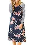 AUSELILY Women's Long Stripe Sleeve Casual Floral Print Loose T-shirt Dresses