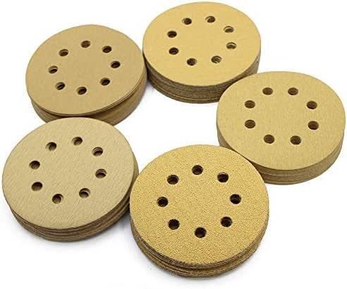 5in Sanding Discs, 100PCS 60 80 120 150 220 Grit Sandpaper Assortment, 8 Holes Dustless Hook and Loop, Random Orbital Sander Sand Paper, by LotFancy