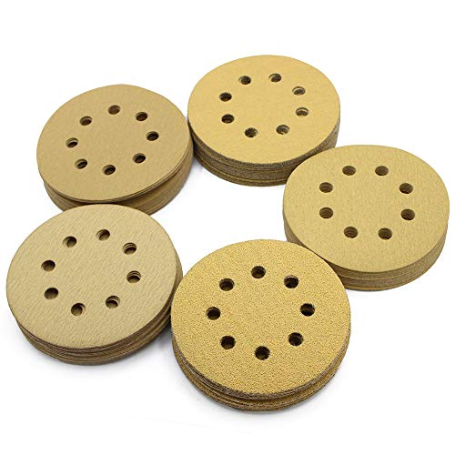 (5in Sanding Discs, 100PCS 60 80 120 150 220 Grit Sandpaper Assortment, 8 Holes Dustless Hook and Loop, Random Orbital Sander Sand Paper, by LotFancy)