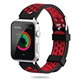 ویکالا · خرید  اصل اورجینال · خرید از آمازون · For Apple Watch Band 38mm 42mm,YiJYi Soft Silicone Sport Strap Replacement Wristband iWatch Bands for Apple Watch Series 3,Series 2,Series 1 (5.Red--Black, 38mm) wekala · ویکالا