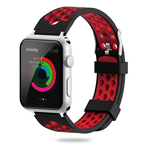 for Apple Watch Band 38mm 42mm,YiJYi Soft Silicone Sport Strap Replacement Wristband iWatch Bands for Apple Watch Series 3,Series 2,Series 1 (5.Red-Black, 42mm)