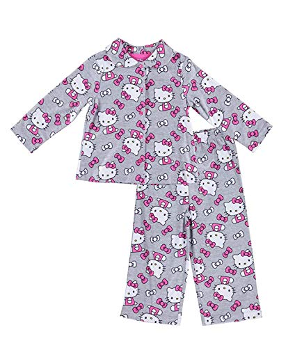 Sanrio Girls Hello Kitty Pajamas - 2-Piece Long Sleeve Pajama Set (Grey, 3T)]()