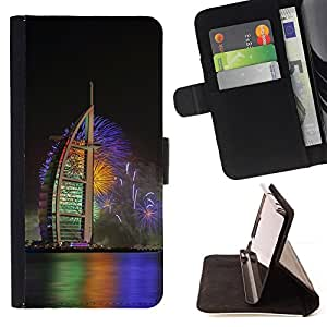 Burj Dubai Fireworks - Painting Art Smile Face Style Design PU Leather Flip Stand Case Cover FOR Samsung Galaxy Note 4 IV @ The Smurfs
