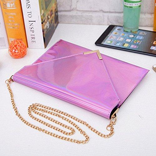 Sherry Handbag Crossbody Holographic Bag Pink Bag Purse Tote Chain Women Clutch Shoulder Fashion Envelope 10rZq1w