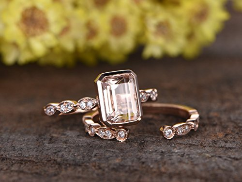 2pcs Diamond Rings Set, 6x8mm Emerald Cut Pink Morganite Solid 14k Rose Gold Engagement Ring Diamonds Marquise Milgrain Art Deco Bridal Stacking Matching Wedding Band Sets
