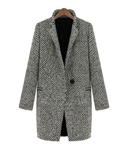 GAMT Women's New Fashion Winter Slim Thick Long-sleeved Woolen Coat M - Tan Wool Tweed