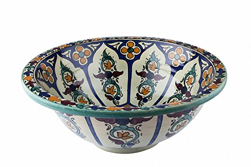 Lavandino da bagno tetouan in ceramica dipinta a mano stile