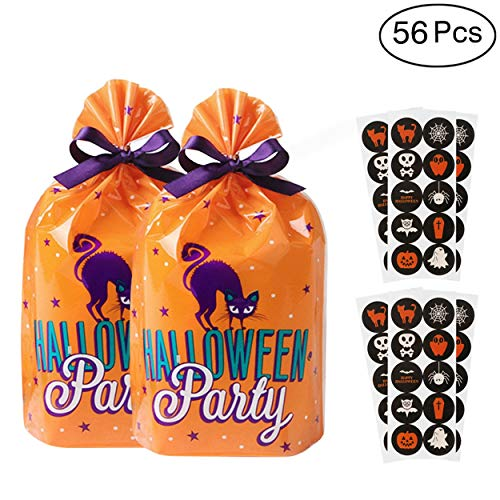 (Hip Mall Halloween Goody Bags Colorful Trick or Treat Candy Bags with Spooky Stickers for Halloween Party,Plastic, Pack of)