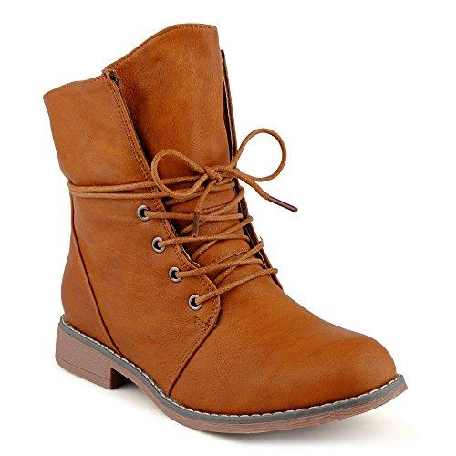 FiveSix Damen Stiefeletten Stiefel Blockabsatz Schnür Biker Boots Freizeit Schuhe Kamel-2/leichtgefüttert