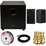 Pioneer SW-10 400W Powered Subwoofer (Black) + Pioneer Andrew Jones Designed 4 Compact 2-Way Bookshelf Speakers (Pair) + 15ft Coaxial Cable + Banana Plugs (5 Pair) + 100ft Speaker Wire