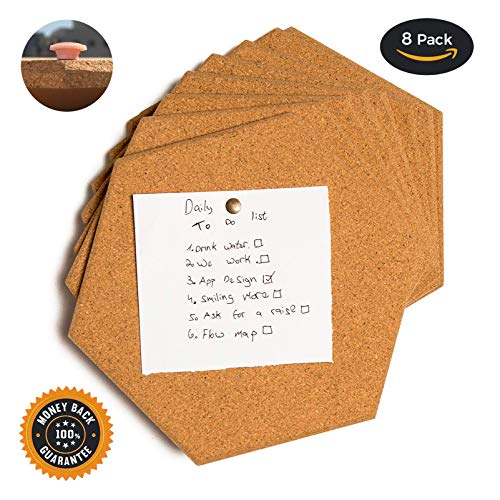 (Premium thick Cork tiles - Cork board, Pin board, 8 Pack including M3 double sided adhesive and push pins.)