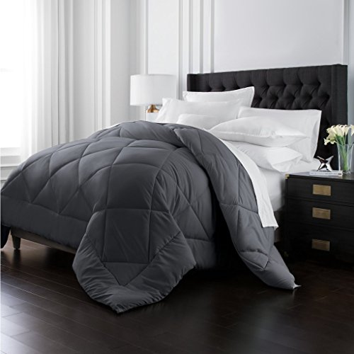 Park Hotel Collection Goose Down Alternative Comforter - All Season - Premium Quality Luxury Hypoallergenic Comforter - Gray - King/Cal King