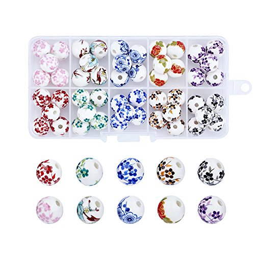 Pandahall 50pcs/Box 10 Styles Traditional Chinese Handmade Ceramic Porcelain Flower Beads 12mm Exquisite Decal Spacer Round Beads