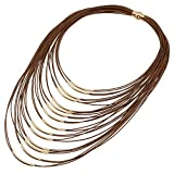 D EXCEED Ladies Gift Idea Jewelry Lightweight Multi Strand Statement Bib Necklace for Women Brown