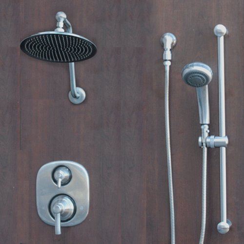 Atantis 10 Brushed Nickel Rain Shower System with Moen Valve