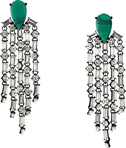 Steve Madden Women's Teardrop Casted Stone Chandelier Earrings Turquoise/Gunmetal-Tone One Size