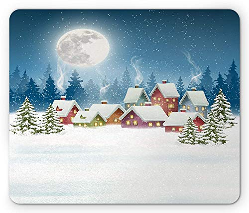 Christmas Mouse Pad, Xmas Landscape Snowy Colorful Cute Village with Pine Trees Full Moon Starry Sky, Standard Size Rectangle Non-Slip Rubber Mousepad, Multicolor -