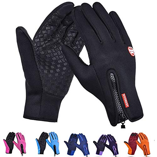 (moahhally Bike Motorcycle Gloves Windstopper Full Finger Ski Gloves Warm Riding Glove Outdoor Sports Touch Screen - S,Black)