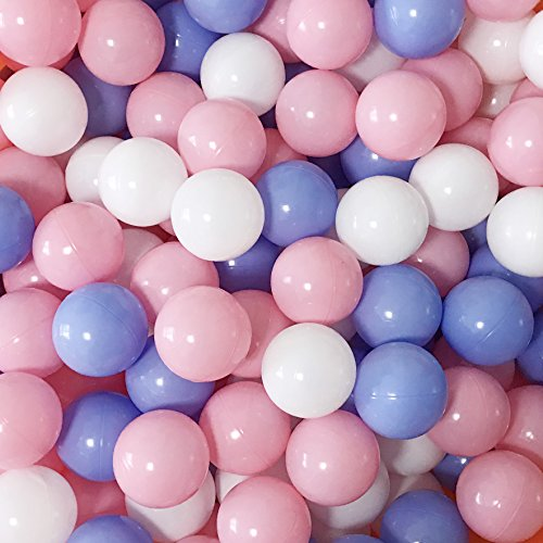 Thenese Pit Balls Crush Proof Plastic Children's Toy Balls Macaron Ocean Balls Small Size 2.15 Inch Phthalate & BPA Free Pack of 800 White&BlueΠnk by Thenese (Image #1)