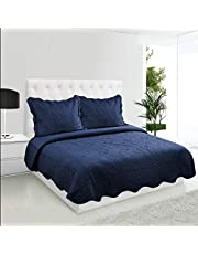 COMFII HOME Embroidery Quilt Set (King) - 2 Pillow Shams, 1 Bedspread Coverlet - Ultra Soft Cool Dry Microfiber - Bedding Decoration